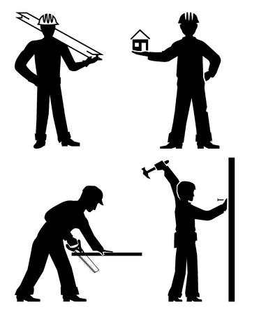 warning saw: set builders outline vector Illustration