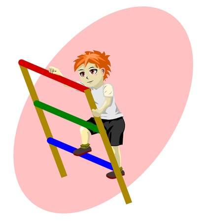 rung: boy on stairs vector