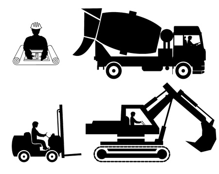 concrete mixer: set builders outline vector Illustration