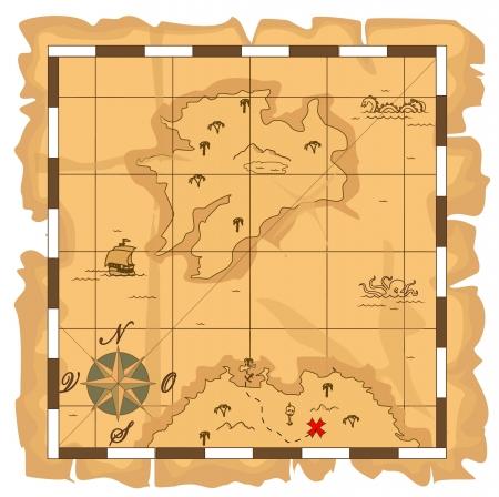 mapa del tesoro: El mapa del tesoro Vectores
