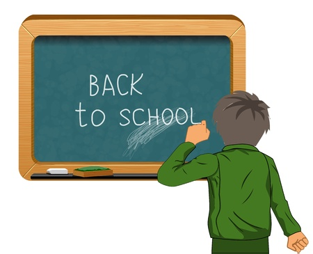 student near blackboard vector Vector