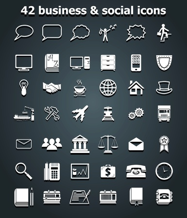 social and business icons set vector Vector