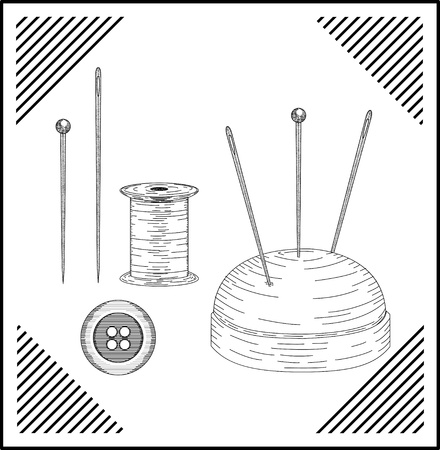 sewing button: Spool with threads and sewing button.