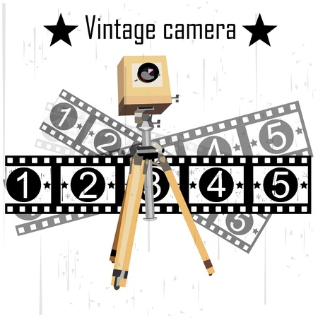 rarity: ancient camera on the isolated background vector