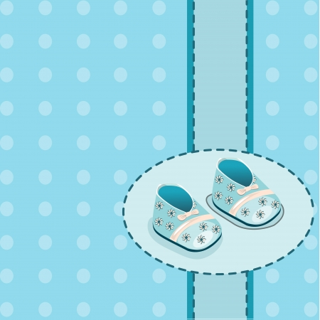 card for baby boy shoes Stock Vector - 22244064