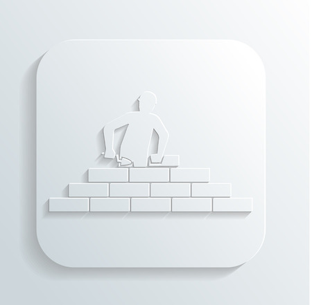 bricklayer: man puts brick Illustration