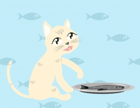 Cat with fish Vector