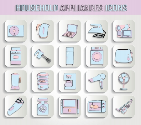 set of household appliances on stamps Vector