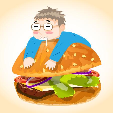 gourmet burger: Man on Burger
