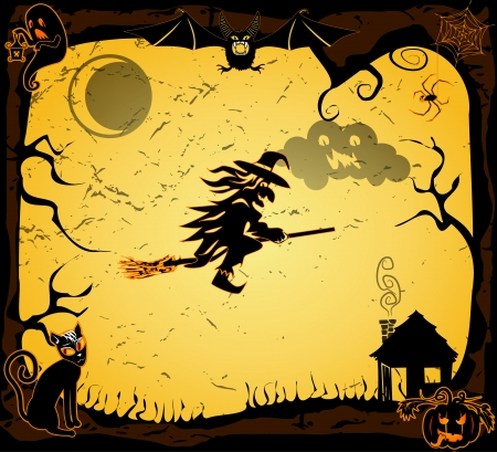 Halloween card with witch on a broom Vector
