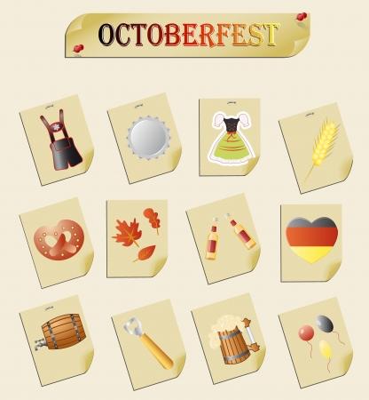 comida alemana: conjunto de temas para octoberfest Vectores