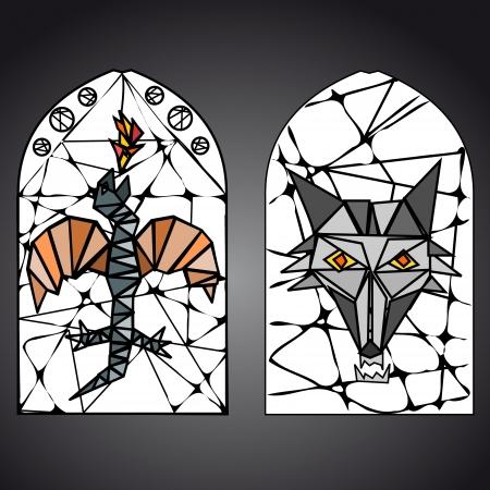 window shade: stained glass window
