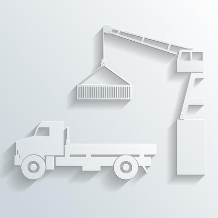 reach truck: crane loading onto truck vector