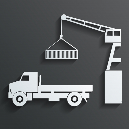 hooks: crane loading onto truck vector
