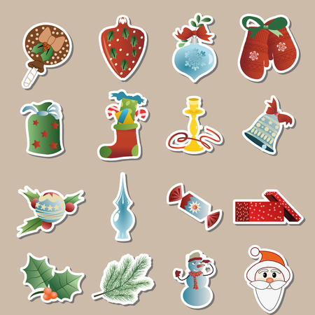 set of christmas icons vector Vector