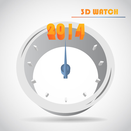 happy hours: New Years clock 3d vector Illustration
