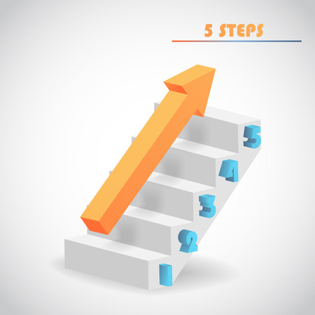upstairs: arrow and staircase 3d vector