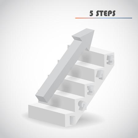 arrow and staircase 3d vector