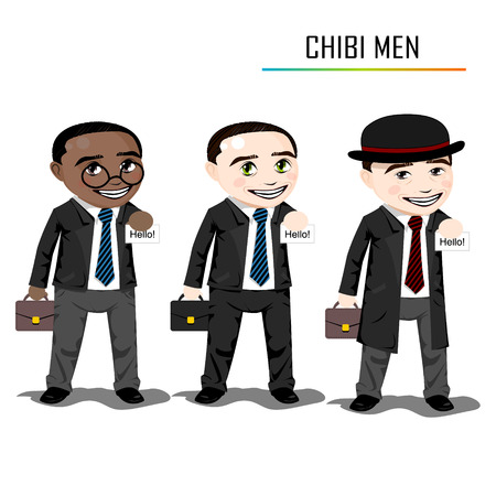 chibi: Chibi businessman vector Illustration
