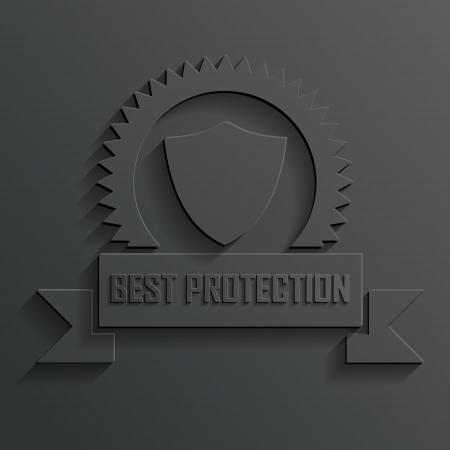 virus protection: shield and ribbon vector Illustration