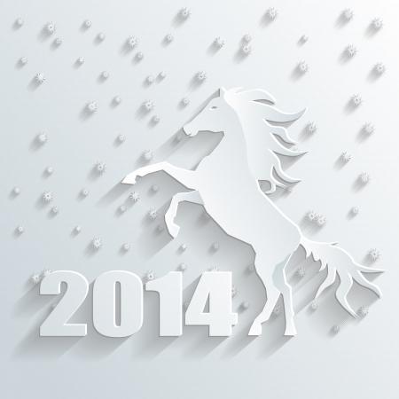 penmanship: new year 2014 horse vector