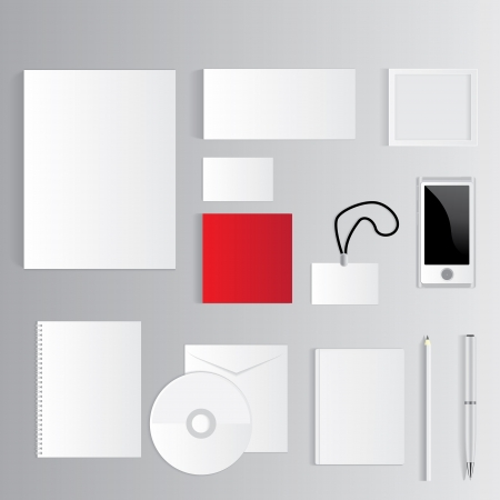 Blank Corporate Set isolated on grey Business cards, Folder, envelopes, a4 letterheads, notebooks, flash, pencile, cd disk and smart phones. Stock Vector - 23634884