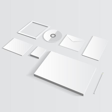 Blank Nehmens Set Isoliert Grau Visitenkarten Ordner