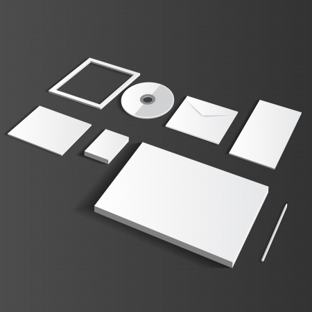 Blank Corporate Set isolated on grey Business cards, Folder, envelopes, a4 letterheads, notebooks, flash, pencile, cd disk and smart phones.
