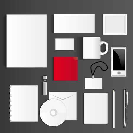 Blank Corporate Set isolated on grey Business cards, Folder, envelopes, a4 letterheads, notebooks, flash, pencile, cd disk and smart phones. Vector