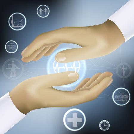 mundo manos: tomados de la mano concepto de medicina mundo abstracción vector Vectores