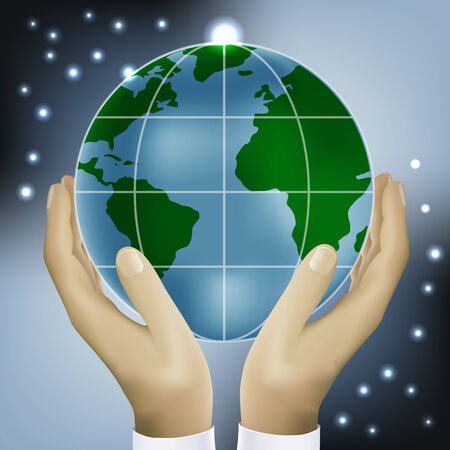 earth hands: hands holding earth vector