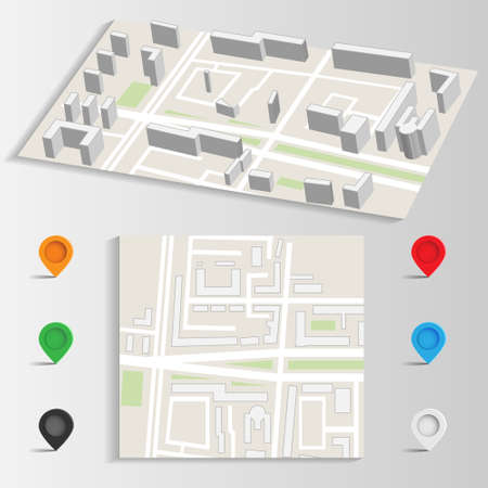city map and landmarks vector Vector