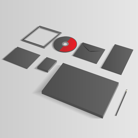 Blank Corporate Set isolated on grey Business cards, Folder, envelopes, a4 letterheads, notebooks, flash, pencile, cd disk and smart phones. Stock Vector - 24166758