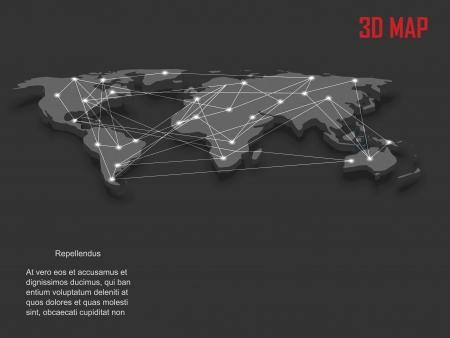 realist: Elegant gray 3d vector World Map