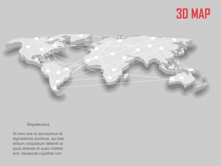 Elegant gray 3d vector World Map