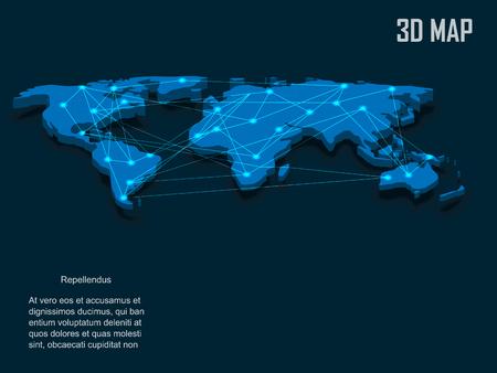 realist: Elegant blue 3d vector World Map