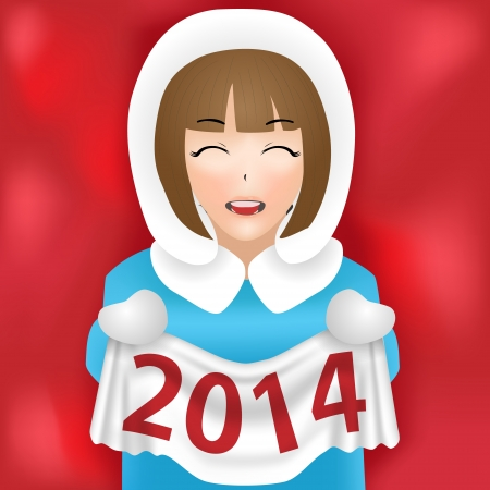 girl new year 2014 vector