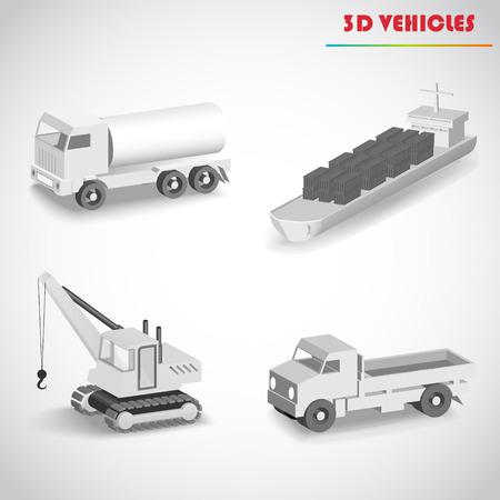 truck crane: barge crane truck 3d vector
