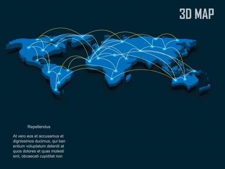 Elegant blue 3d vector World Map Vetores