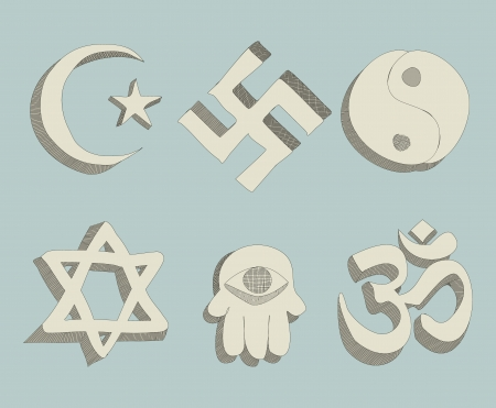 religious signs doodle vector Vector