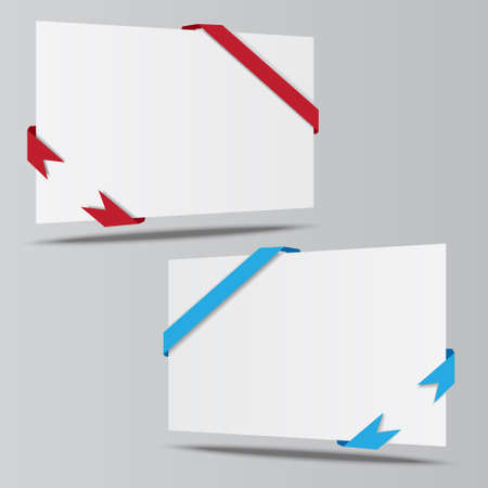 workpiece: empty isometric paper sheet whith ribbons vector