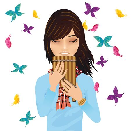 prayer shawl: Girl with a pans flute surrounded by butterflies vector Illustration