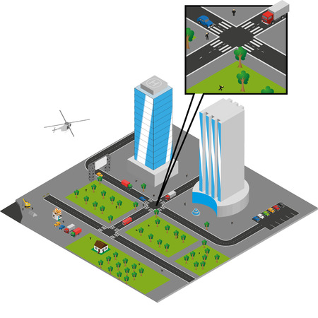 isometric city  on white Vector