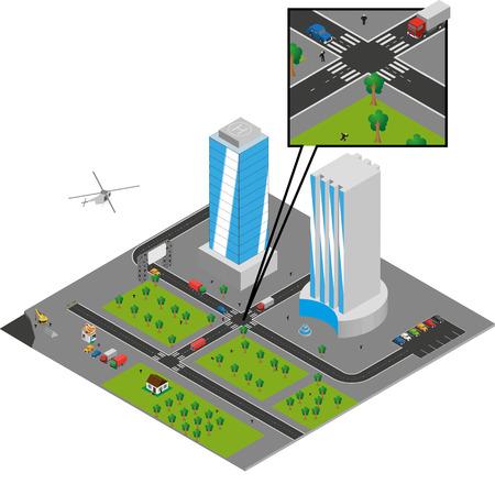 isometric city  on white Stock Vector - 24899262
