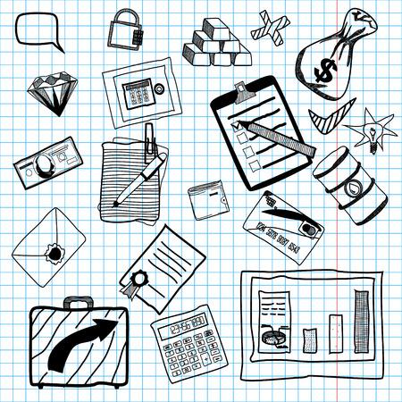 ingots: Hand drawn vector illustration of business doodles