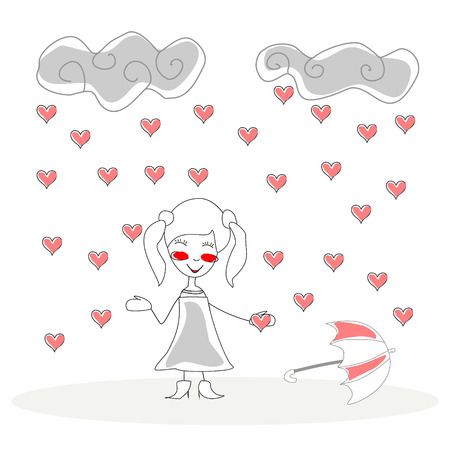 doodle girl with umbrella under rain of hearts vector Vector