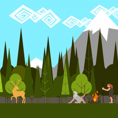 primitive hunting in the woods flat style vector Vector
