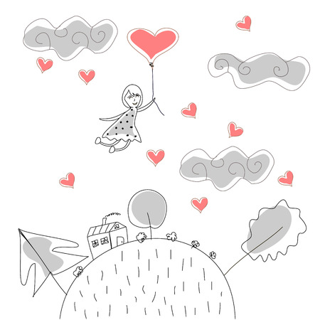 Doodle Girl Flies on the Ball in the Rain of Hearts vector Vector