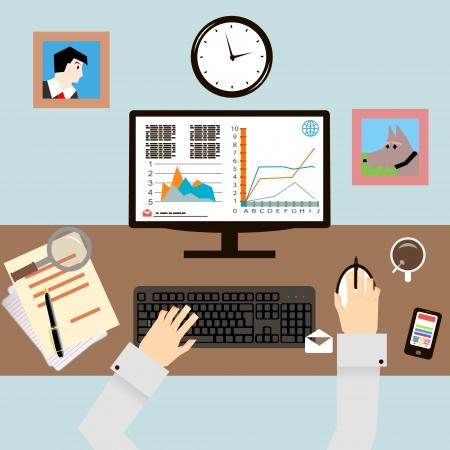 Lugar de trabajo con las manos y los Infografía en Flat Diseño Estilo vector