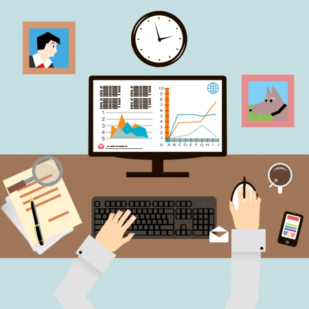 desks: Workplace with Hands and Infographic in Flat Design Style vector